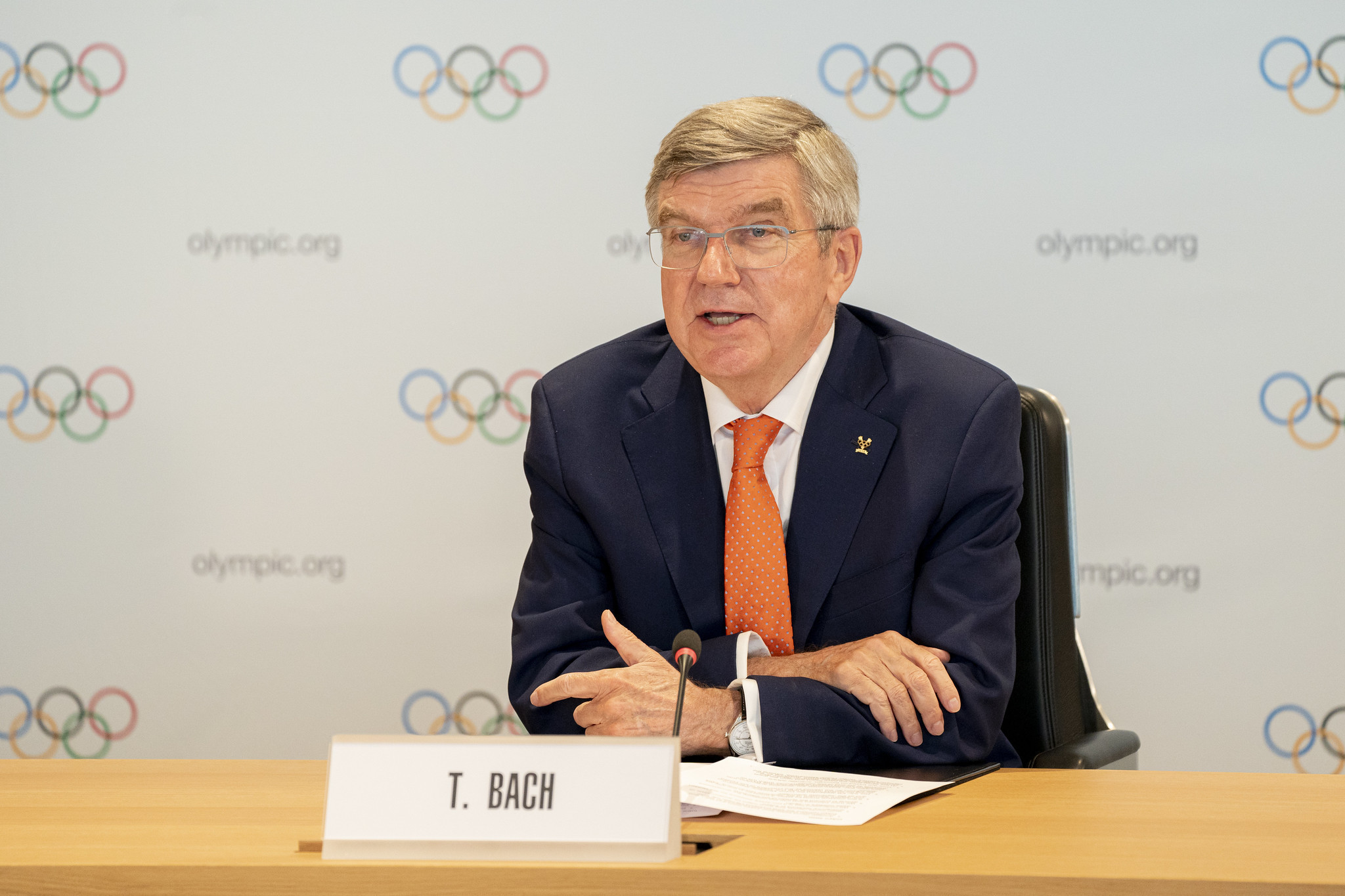 IOC President Thomas Bach welcomed the donation from Pfizer ©IOC