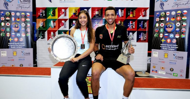 Hania El Hammamy, left, and Mostafa Asal, right, were the junior champions in 2019 ©WSF