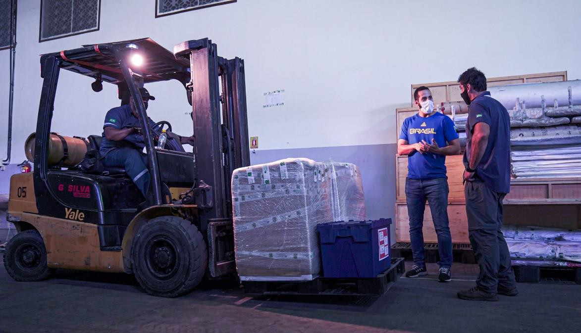 More than 20 tonnes of sports equipment and COVID-19 protection materials has been transported to Japan by the Brazilian Olympic Committee ahead of the Tokyo 2020 Games ©COB