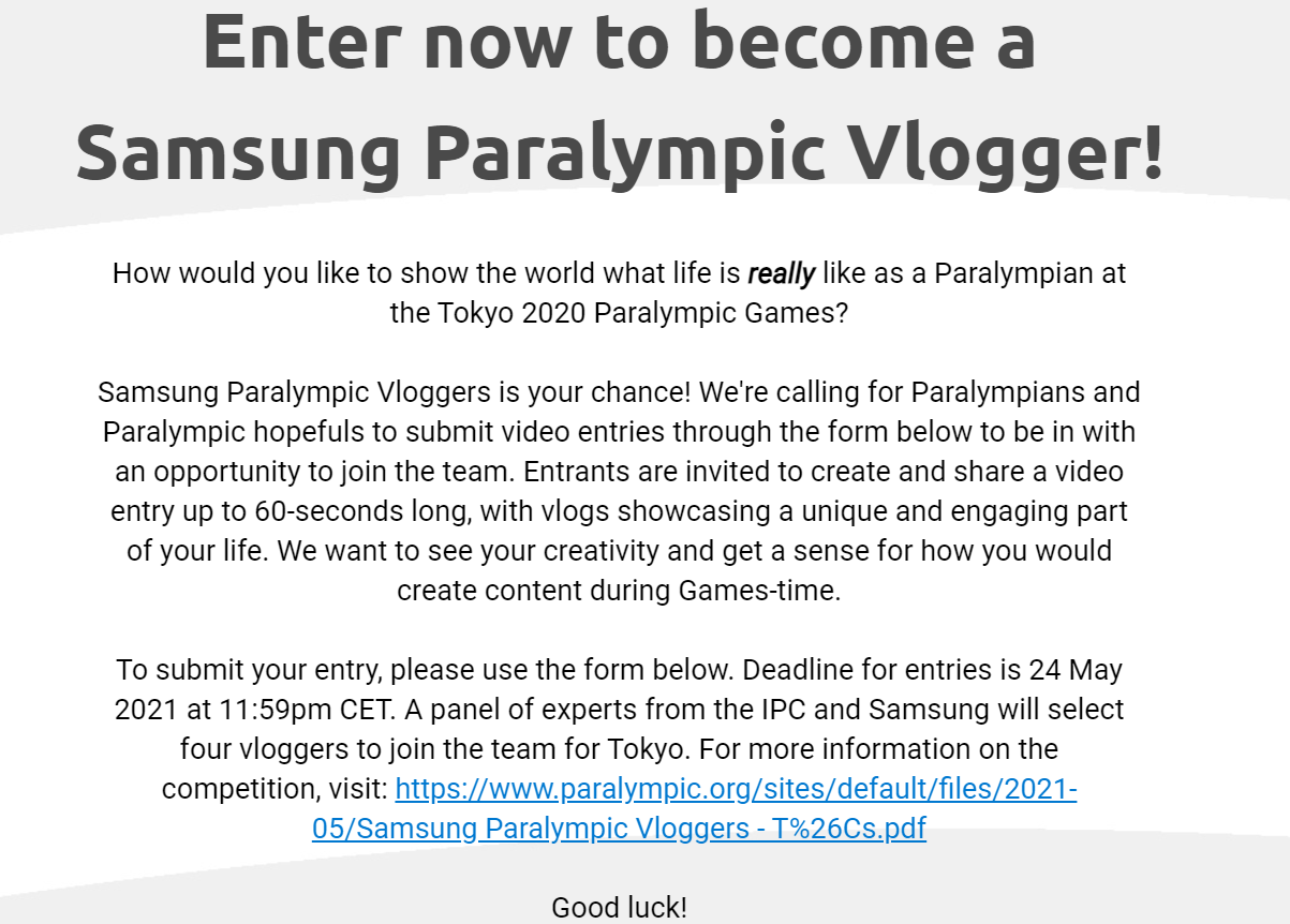 Would-be vloggers at the Tokyo Paralympics are invited to enter a competition jointly organised by the IPC and Samsung ©IPC