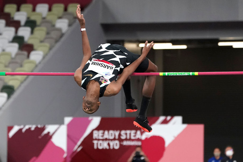 World high jump champion Mutaz Barshim of Qatar shared victory at the Tokyo 2020 athletics test event ©Getty Images