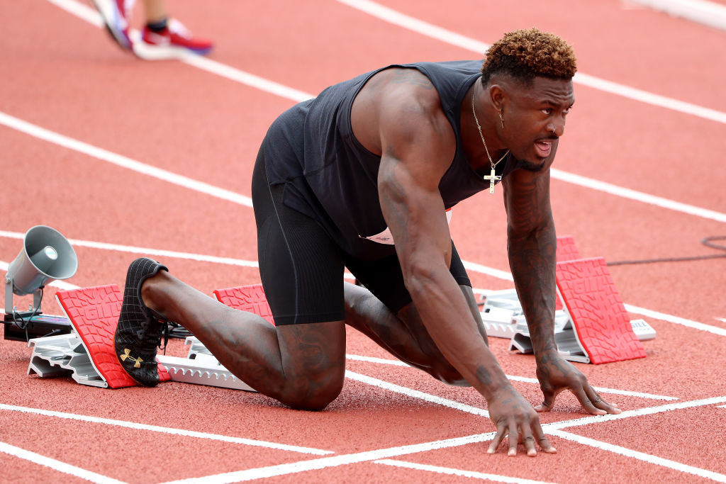 NFL star DK Metcalf finished last in his 100 metres heat at the Walnut meeting, clocking a creditable 10.37sec ©Getty Images