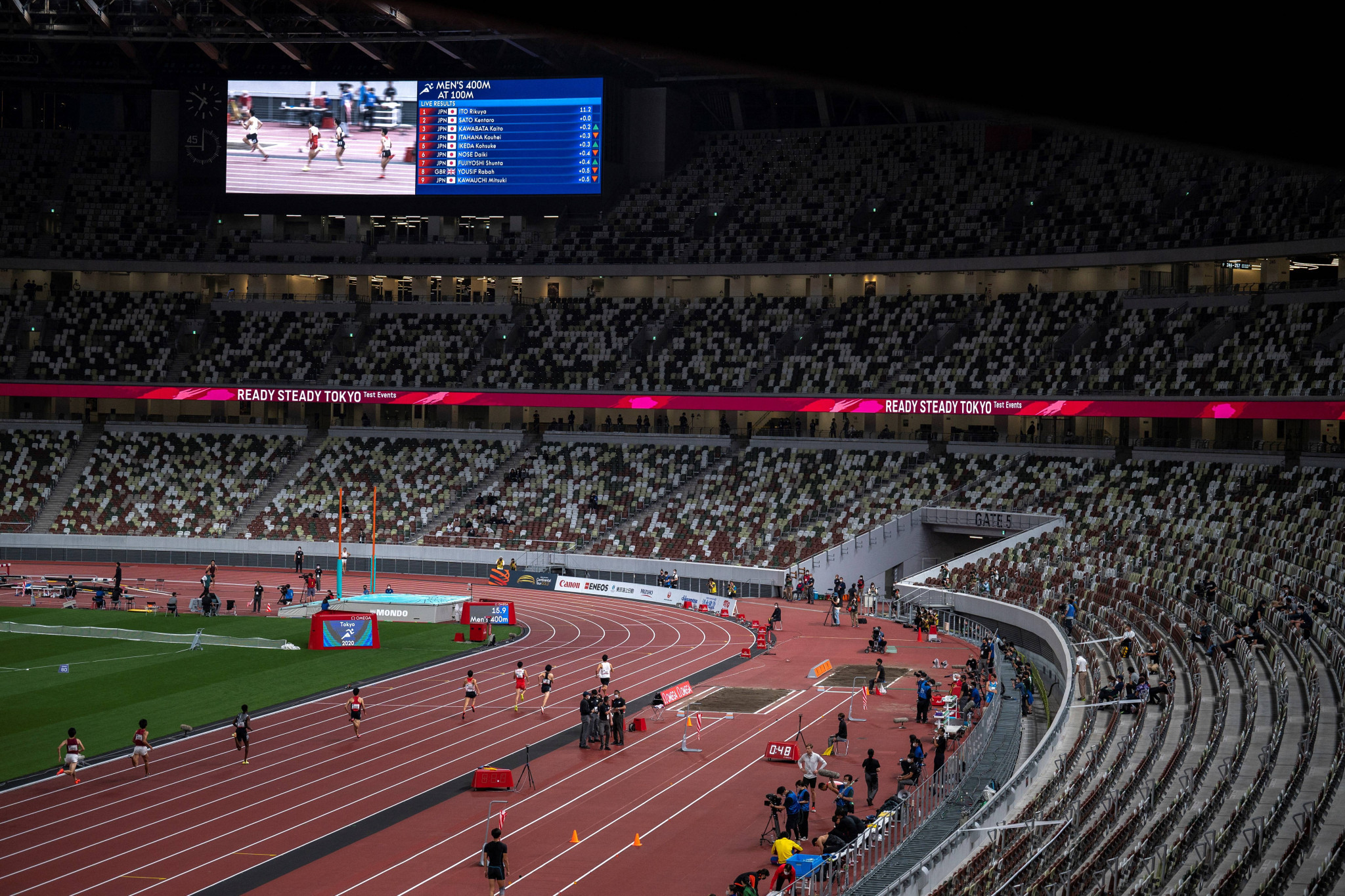 The athletics test event was staged at an empty Olympic Stadium in Tokyo ©Getty Images
