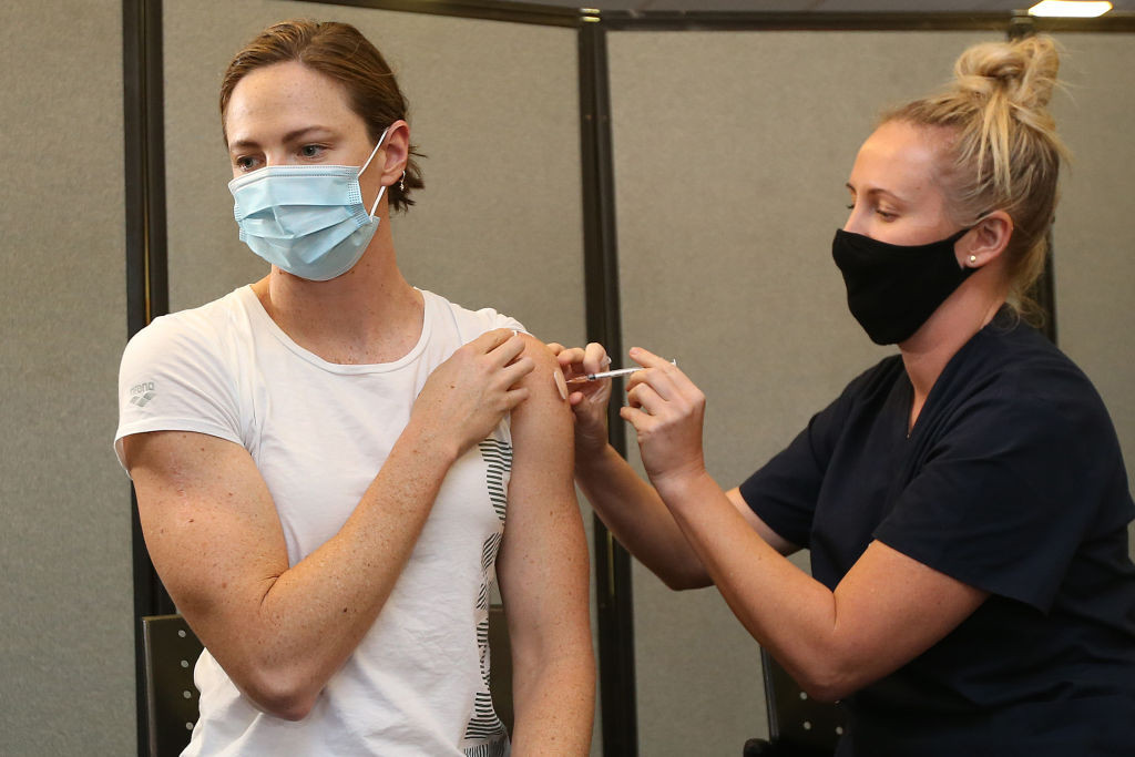 Australia's multiple Olympic swimming medallist Cate Campbell became the first athlete to benefit from a COVID-19 vaccination ©Getty Images