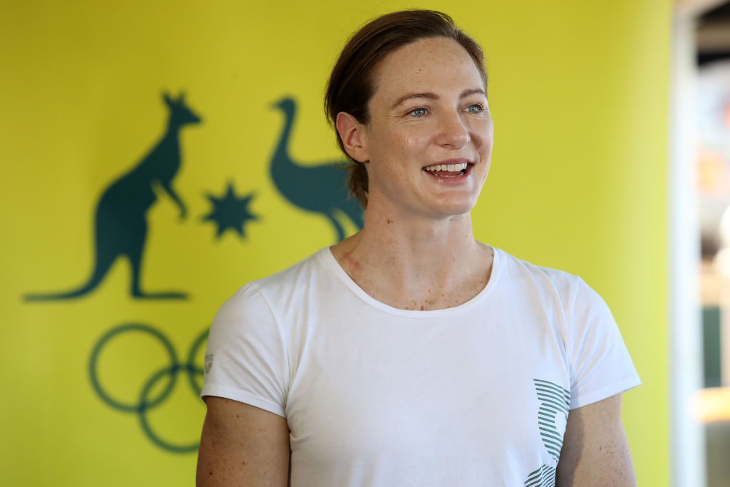 Three-time Olympian Cate Campbell talks to the media after becoming the first Australian athlete to receive a Pfizer coronavirus inoculation as part of a push to vaccinate all Tokyo-bound competitors ©Getty Images