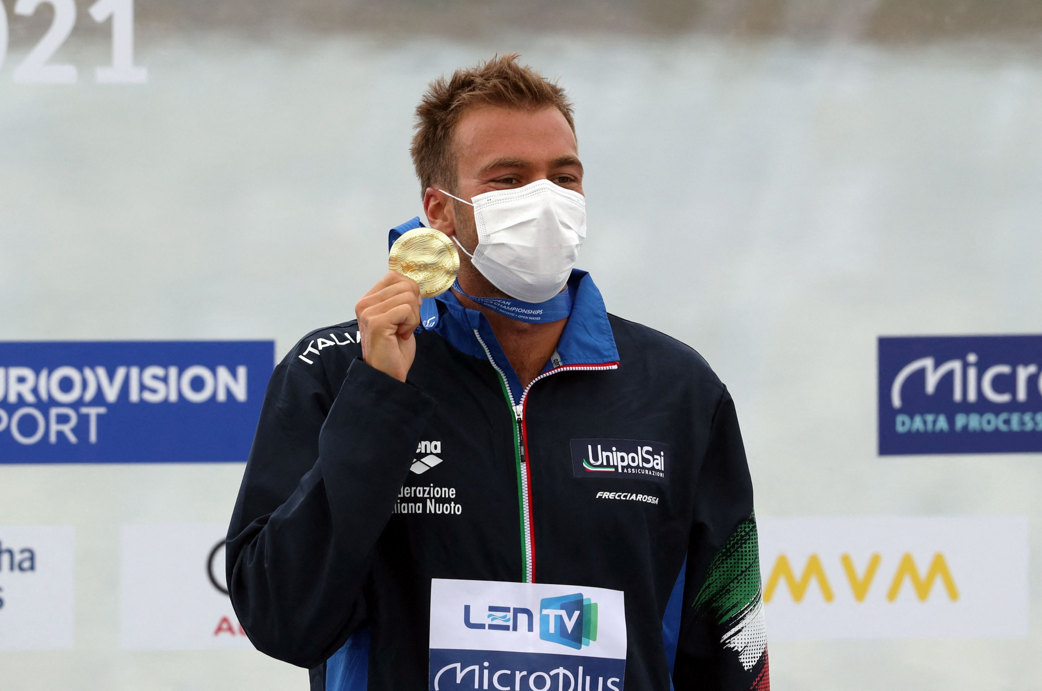 Gregorio Paltrinieri won the men's 5km race for a first major title in open water ©Getty Images