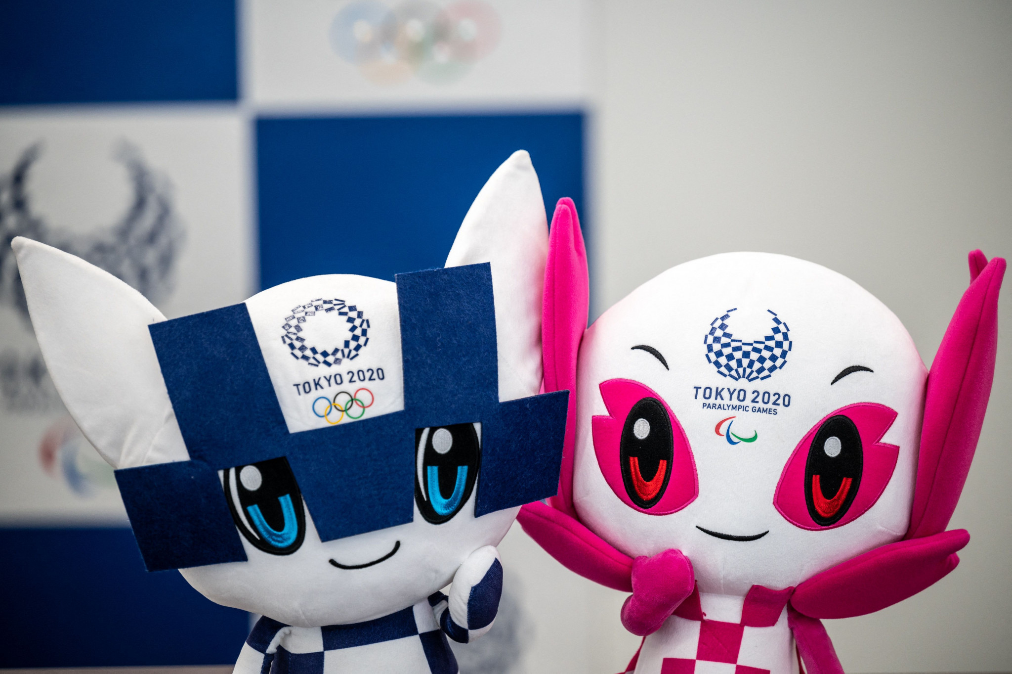 Miraitowa, left, and Someity, respective  mascots for the Tokyo 2020 Olympic and Paralympic Games ©Getty Images