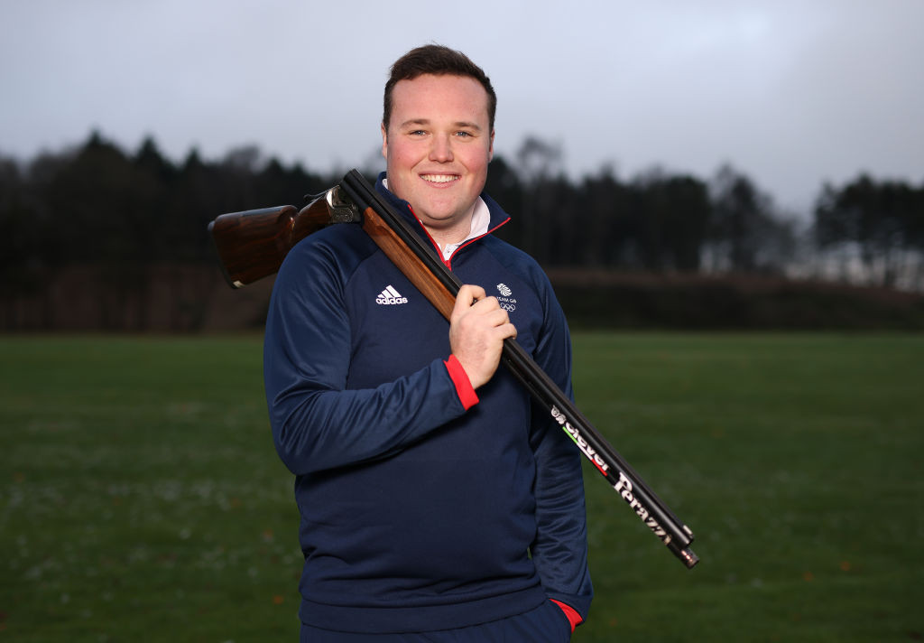 Britain's Matthew Coward-Holley combined with Kirsty Hegarty to win the trap mixed team event on the last day of the ISSF Shotgun World Cup in Lonato ©Getty Images