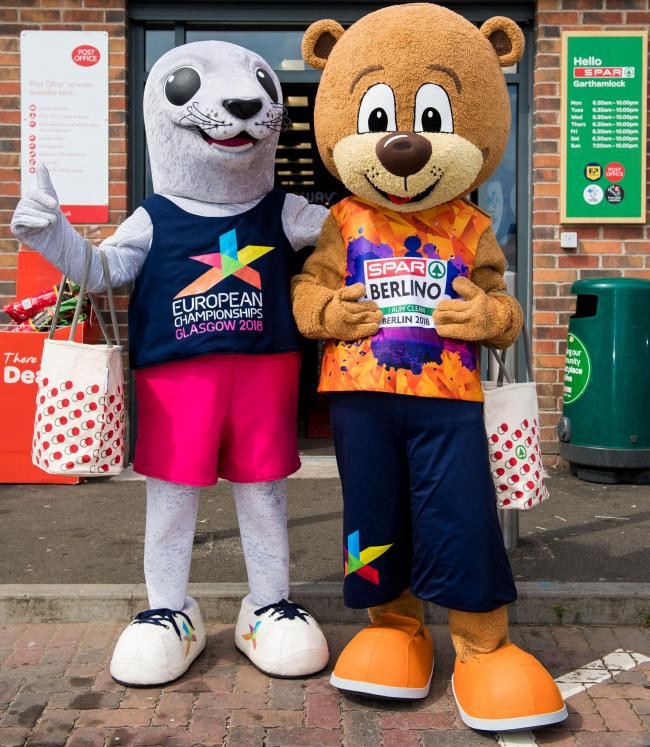 There were two mascots for the last European Championships in 2018 in Glasgow and Berlin - Bonnie and Berlino ©Glasgow 2018