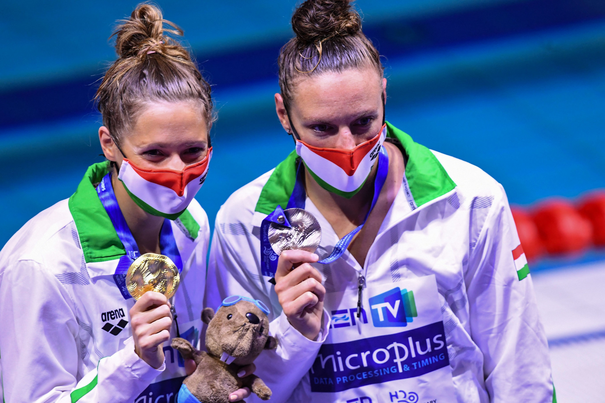 Boglarka Kapas, left, and Katinka Hosszu, right, won gold and silver in the women's 200 metres butterfly ©Getty Images