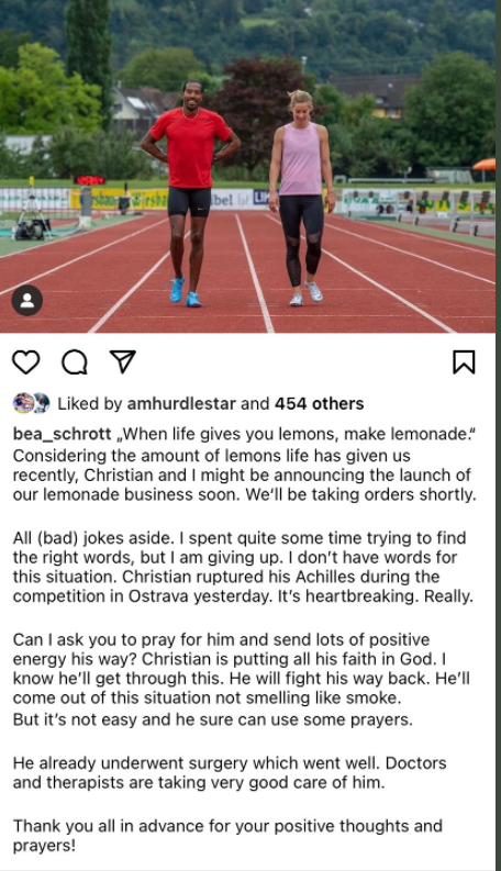 Christian Taylor's fiancee, Austrian high hurdler Beate Schrott, revealed the seriousness of his injury in an Instagram post today ©Instagram
