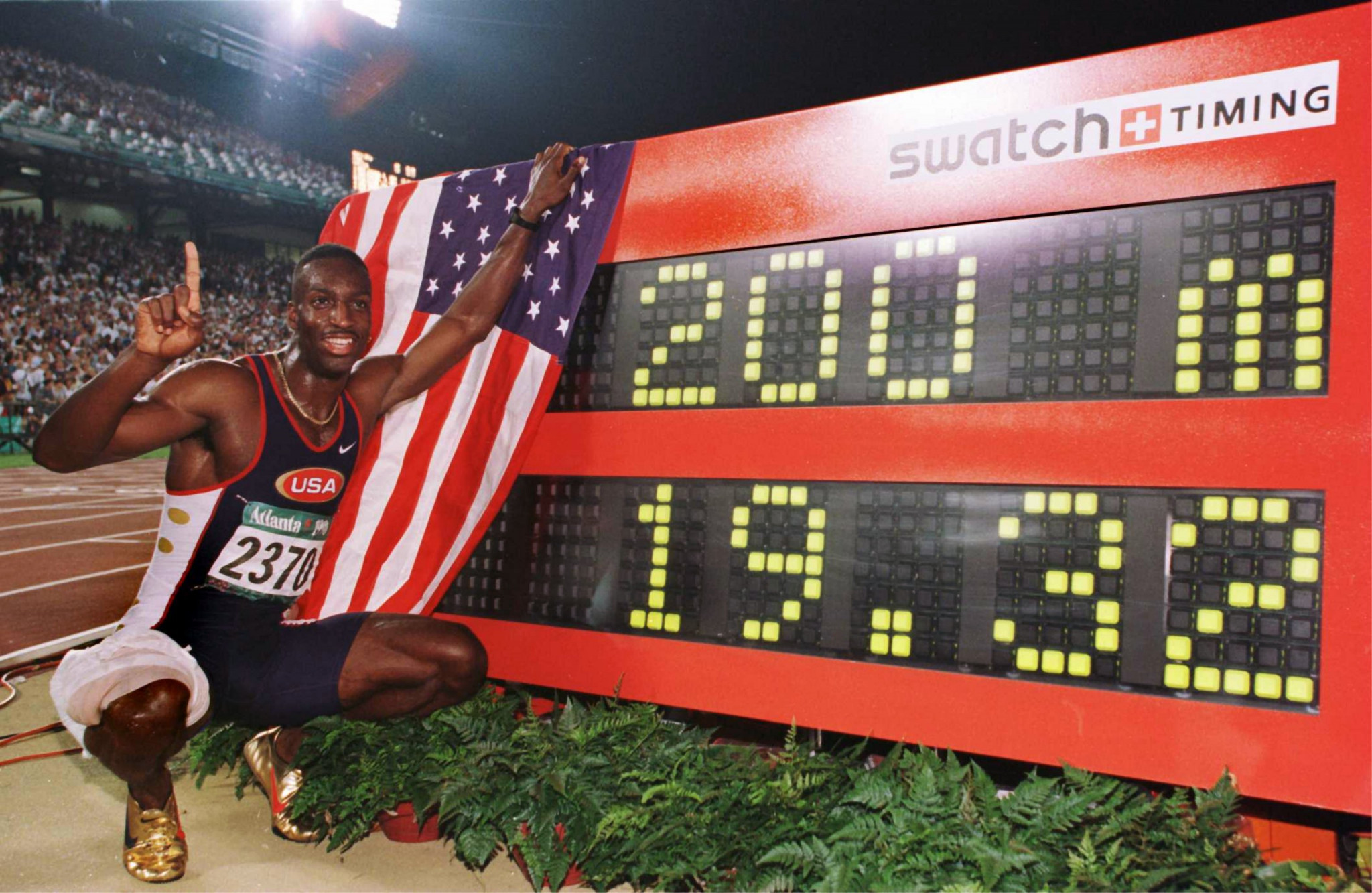 Michael Johnson set a 200m world record at Atlanta 1996 which stood for 12 years ©Getty Images