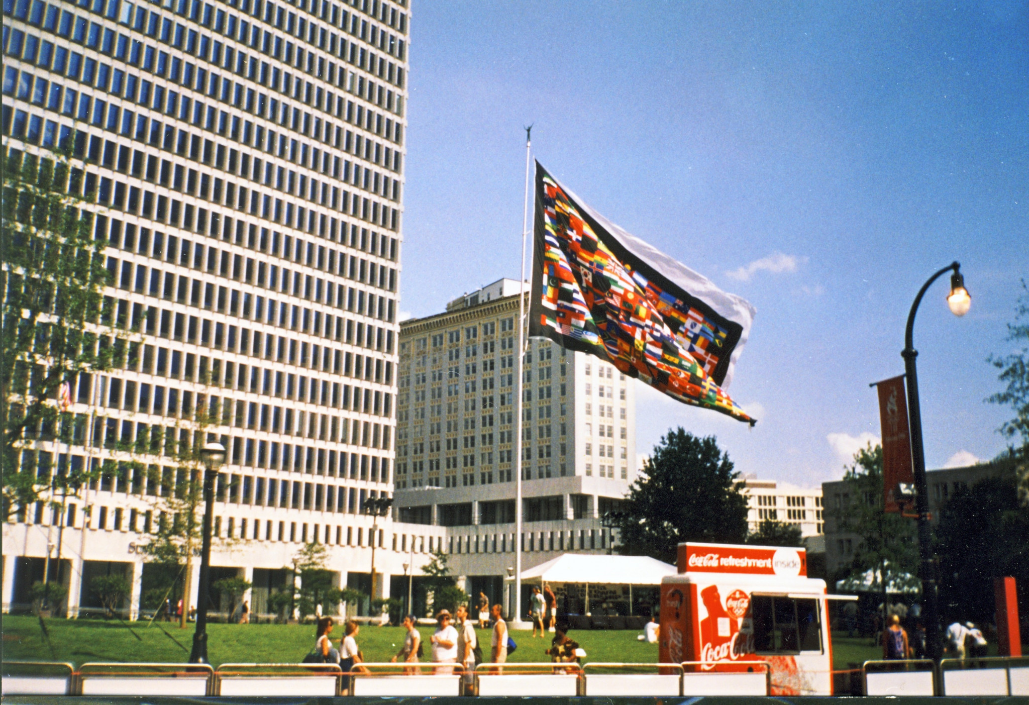 A flag incorporating all Olympic nations in centre of Atlanta during the Games ©Philip Barker