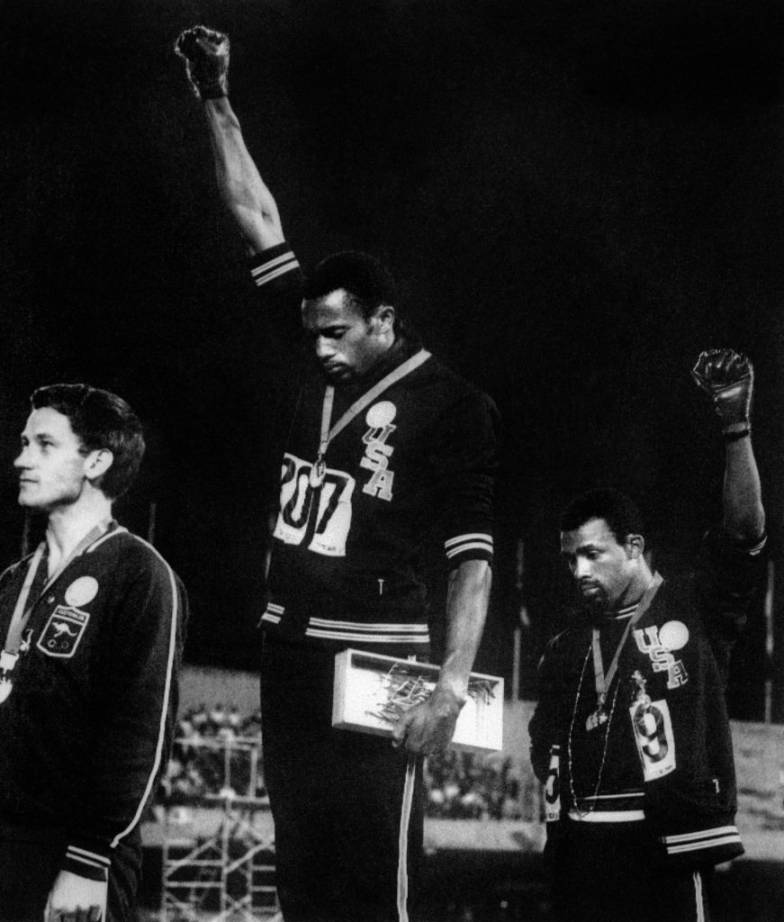 Commenting on the podium protest after the 200m at the 1968 Olympics, gold medallist Tommie Smith later said: