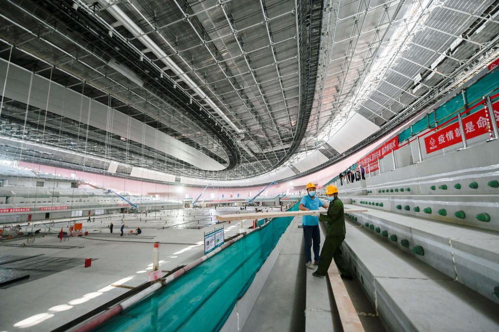 Construction work underway at the National Speed Skating Oval for the Beijing 2022 Winter Games, which are targeting carbon neutrality through a range of measures ©Getty Images