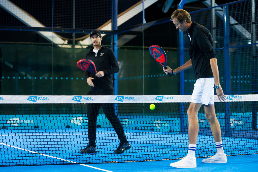 Padel, seen here being played by Andy Murray and Peter Crouch during BBC TV's 2020 Children In Need programme, has been announced along with teqball as a new sport for the European Games in 2023 ©Getty Images