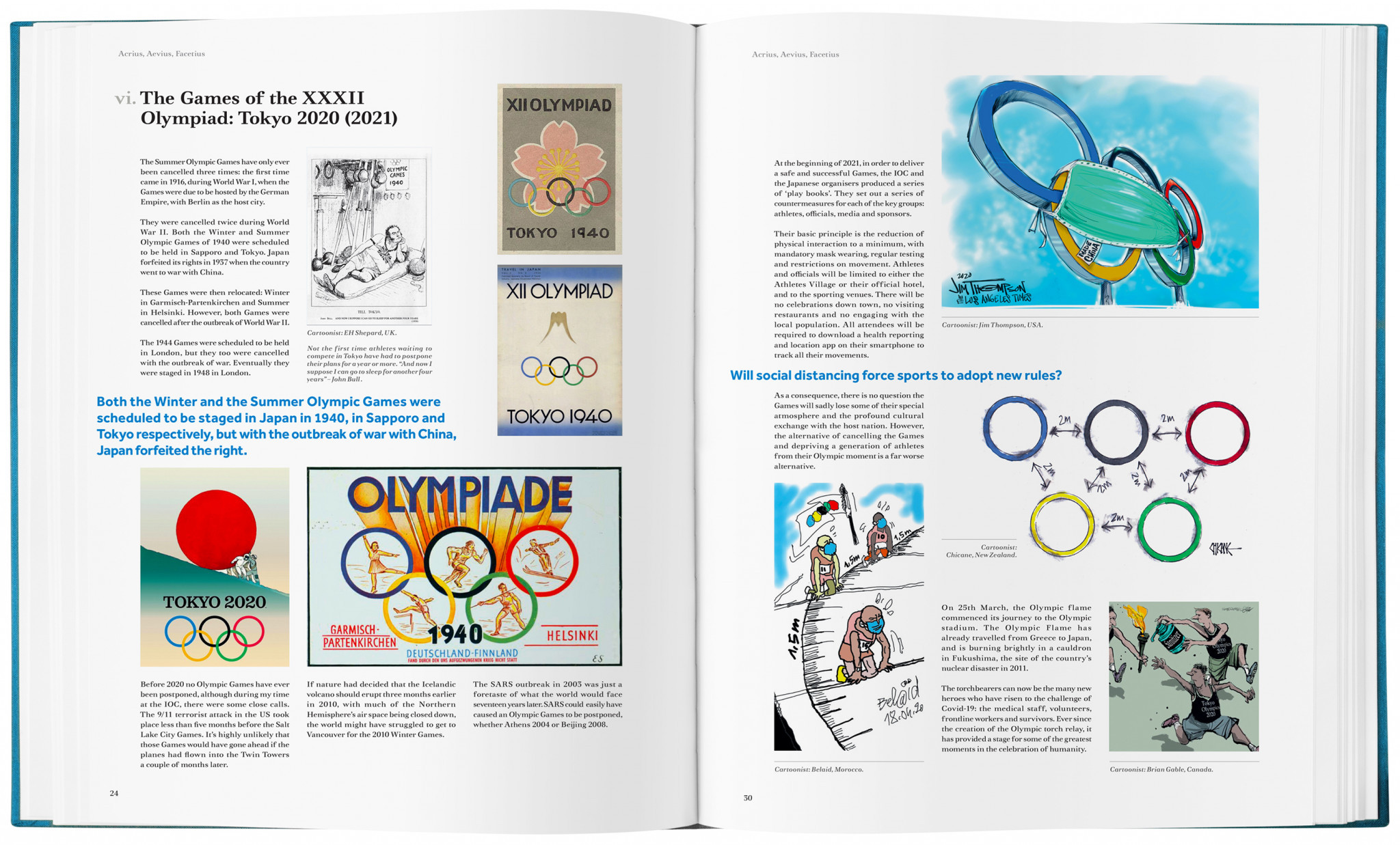 The book features a spread dedicated to Tokyo 2020 ©olympiccartoon.com
