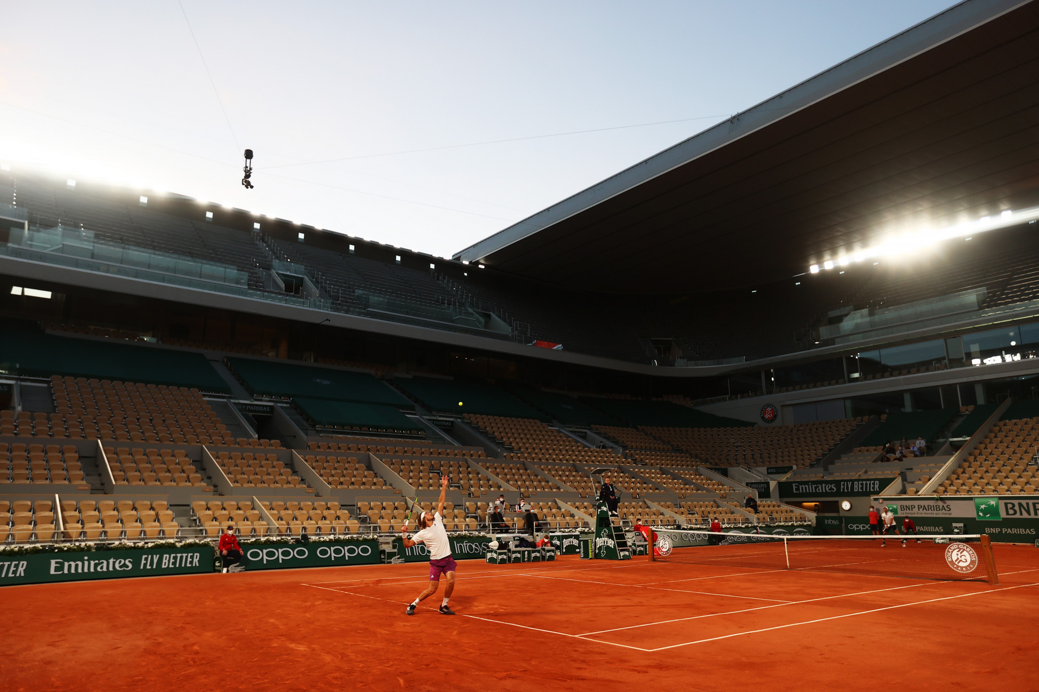 Fans were forced to leave the grounds due to a 9pm COVID-19 curfew leaving Stefanos Tsitsipas taking on Jérémy Chardy on an empty Philippe-Chatrier ©Getty Images