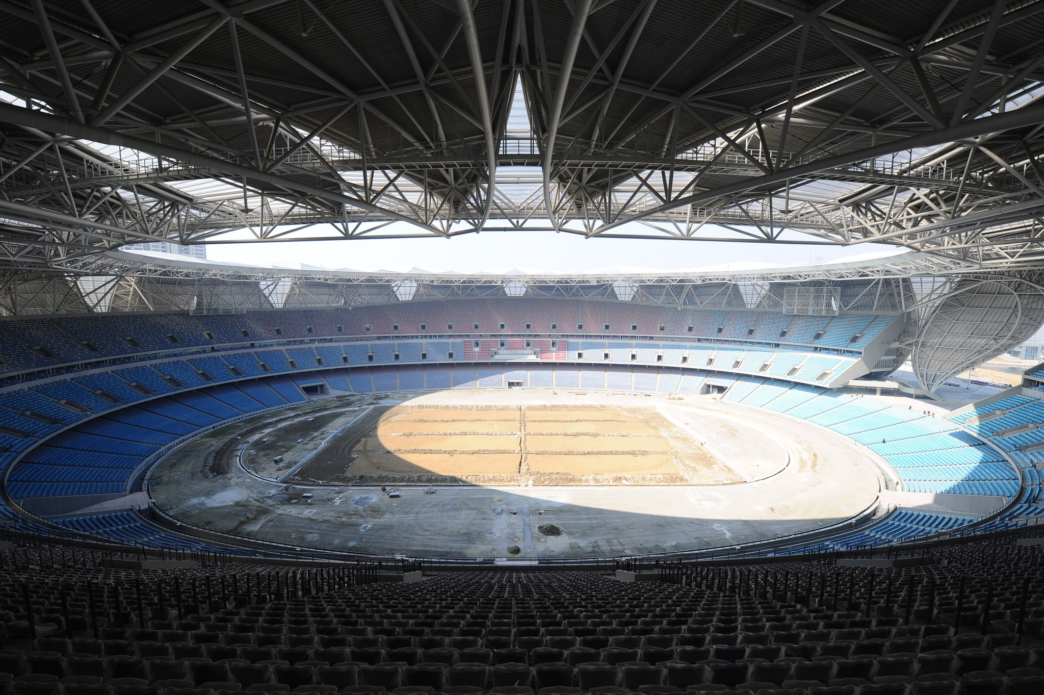 The Hangzhou Sports Park Stadium is set to stage the Opening and Closing Ceremonies at next year's Asian Games ©Getty Images