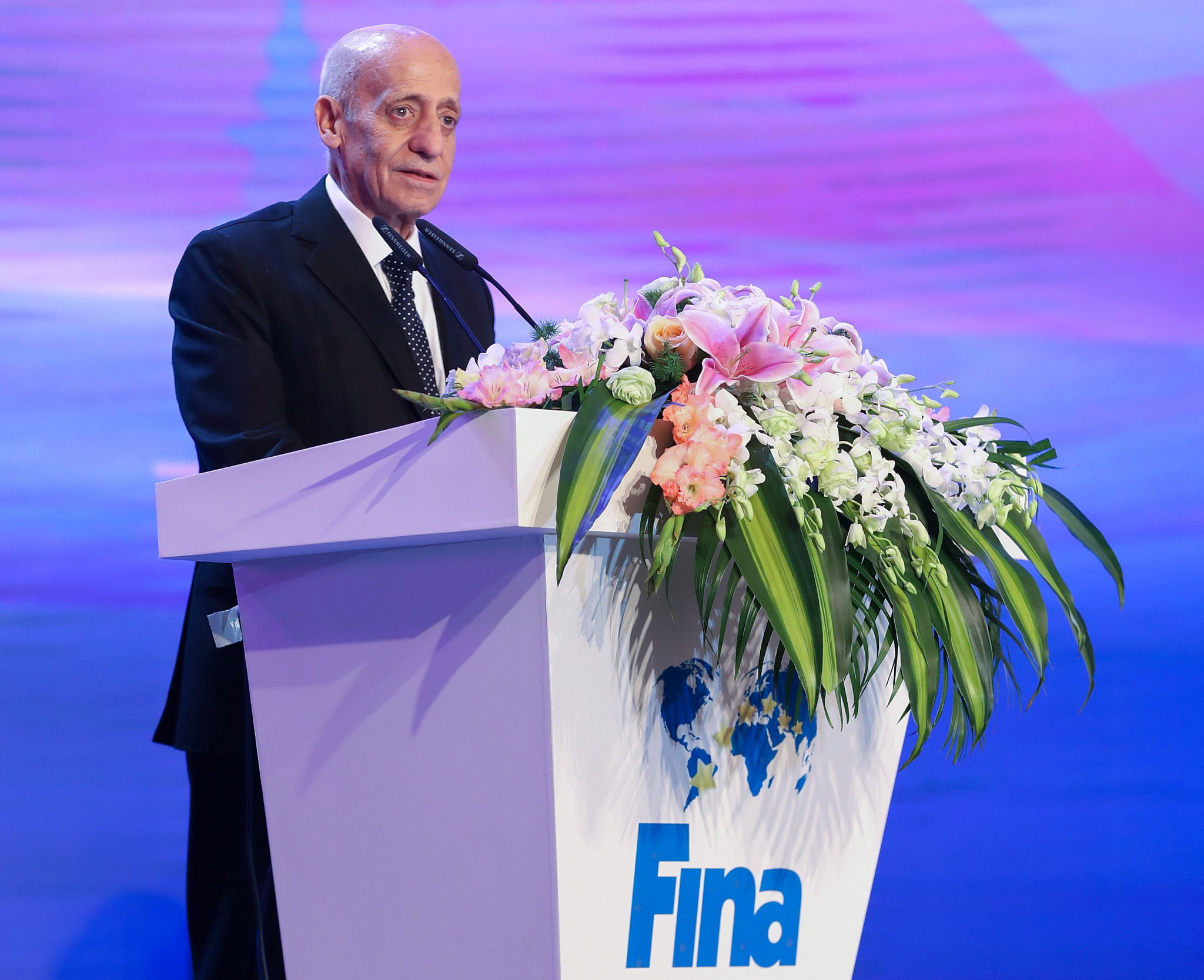 Julio Maglione, 85, has led the International Swimming Federation for the past 12 years ©Getty Images
