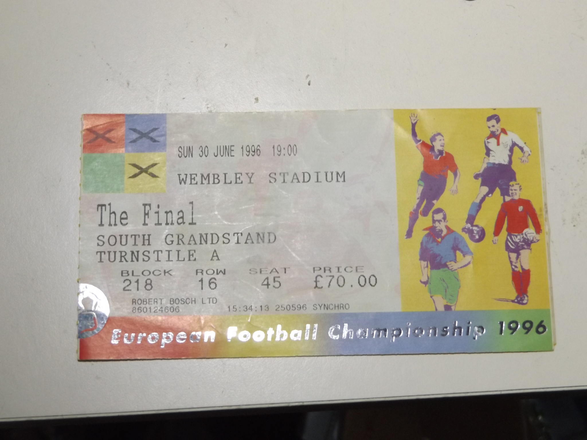 The author's ticket for the final ©Philip Barker