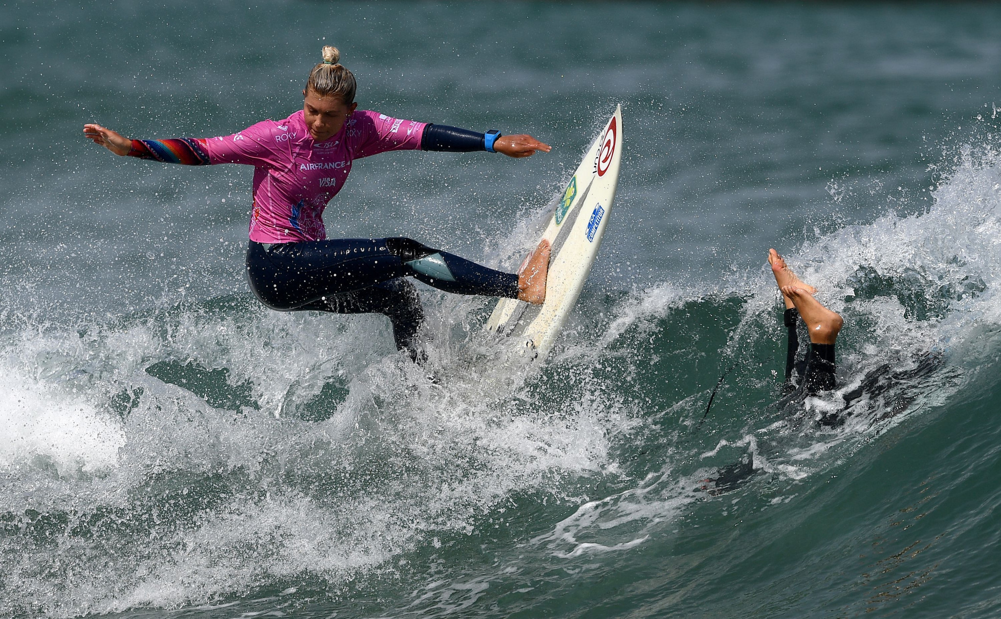 Roas' first senior World Championship was at the 2017 World Surfing Games in Biarritz, where she placed ninth ©Getty Images