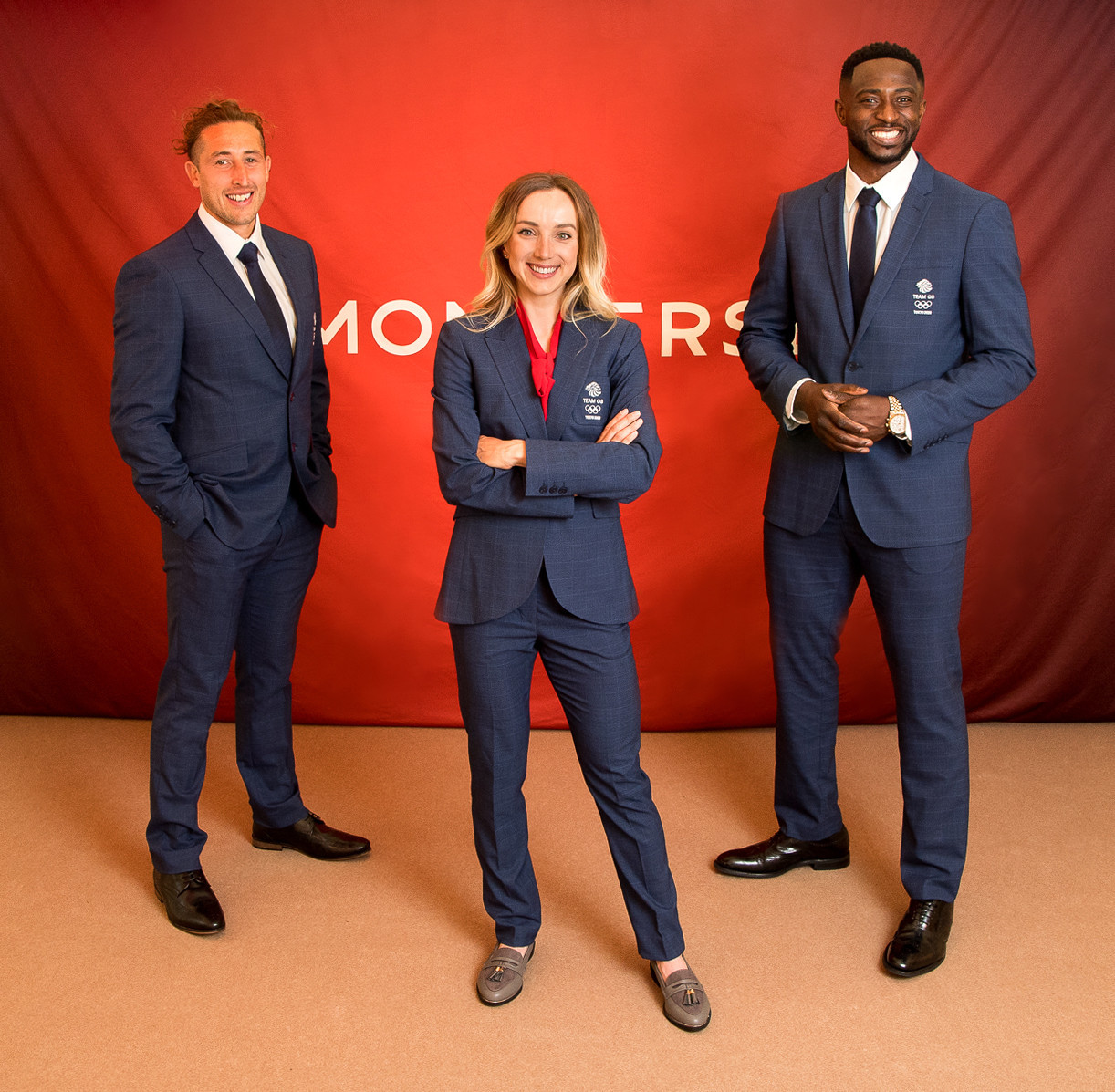 Dan Bibby, Elinor Barker and Mahama Cho at the launch event of Team GB's formal wear for Tokyo 2020 ©Simon Jersey
