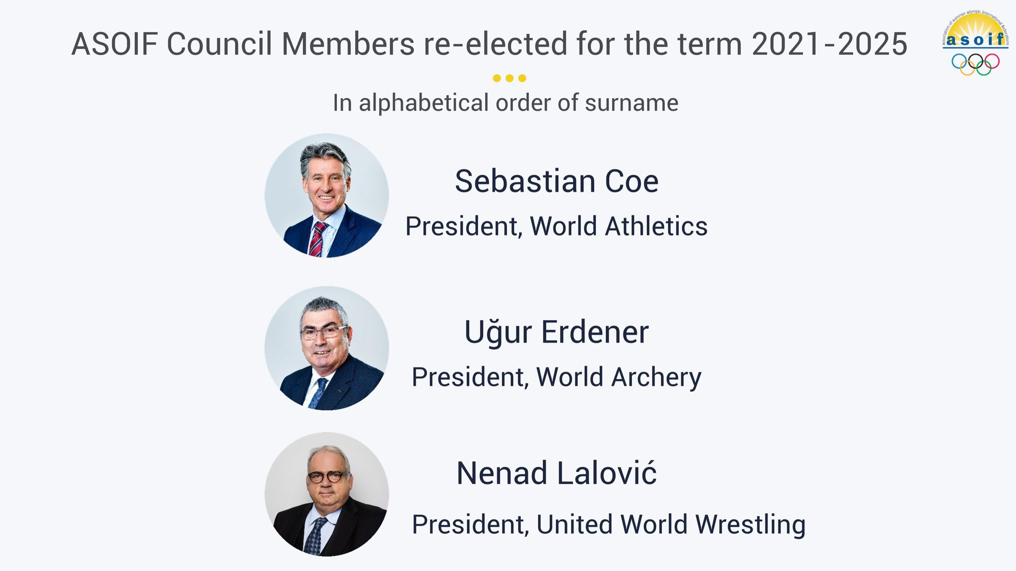 Coe, Erdener and Lalovic re-elected to ASOIF Council