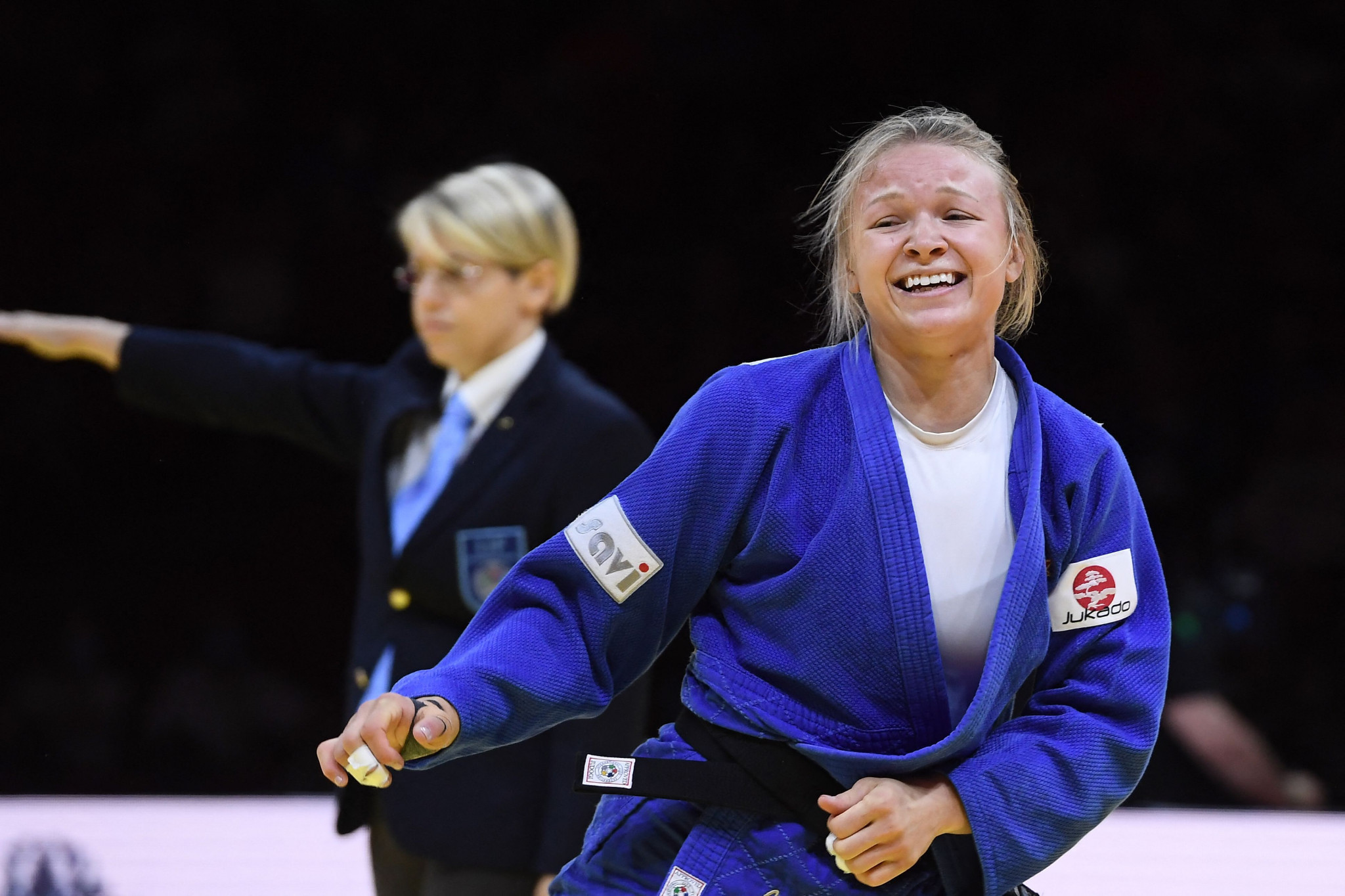 Jessica Klimkait secured her place at Tokyo 2020 by winning gold in the women's under-57kg division ©Getty Images