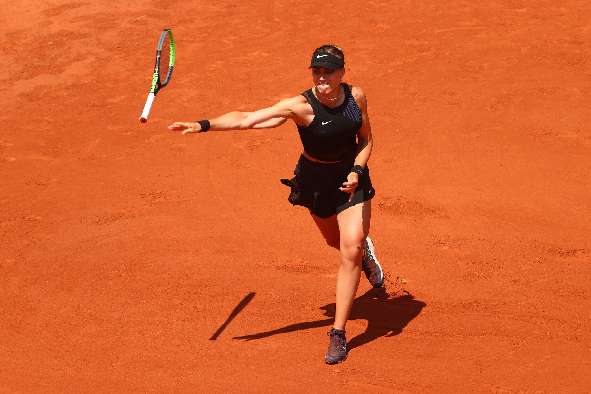 Spain's Paula Badosa loses her racket on the way to losing in the quarter-finals of the French Open, where she was upset by Tamara Zidansek ©Getty Images