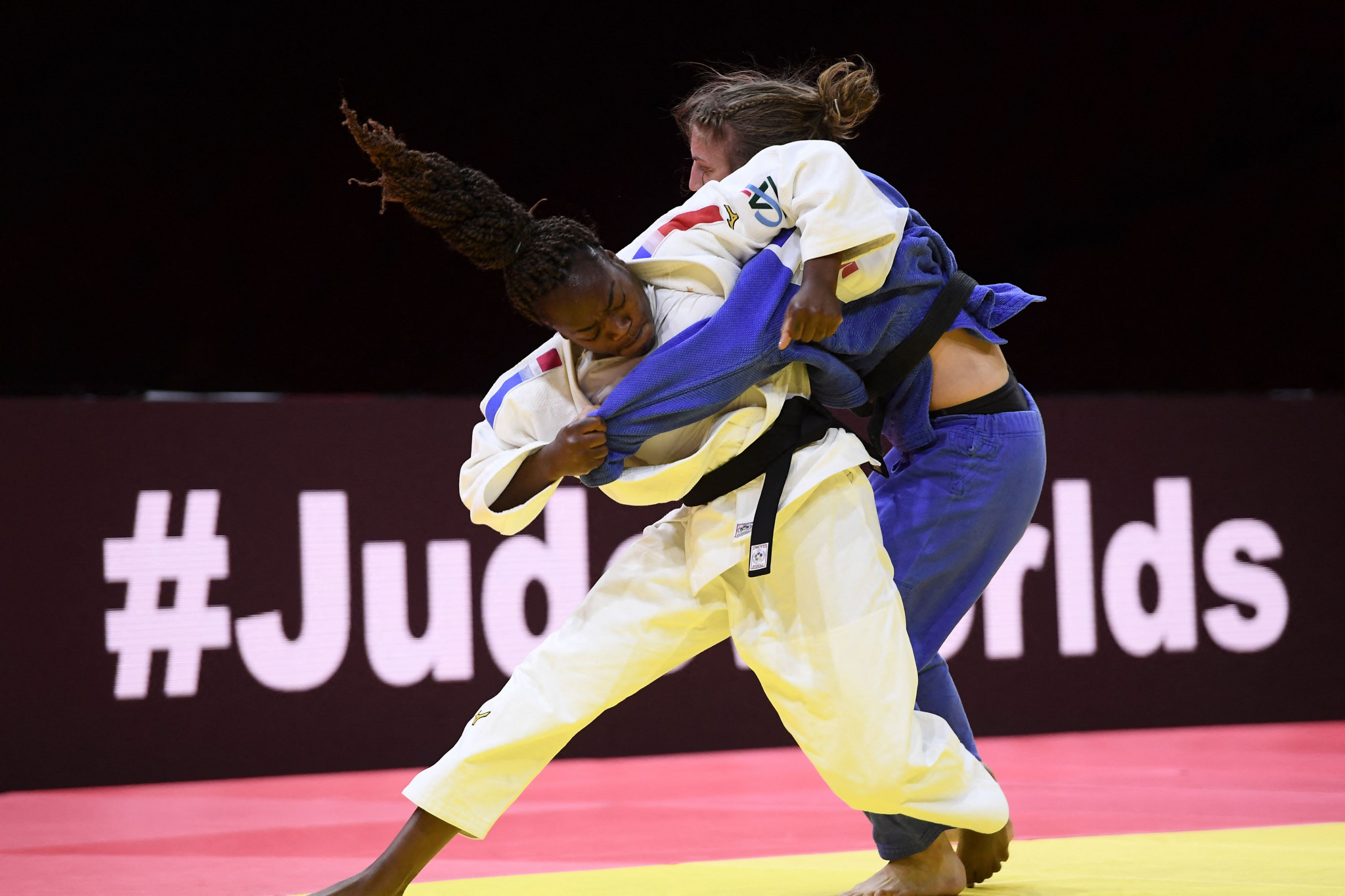 Clarisse Agbegnenou proved too strong for the Slovenian Andreja Leški in the women's under-63kg final ©Getty Images
