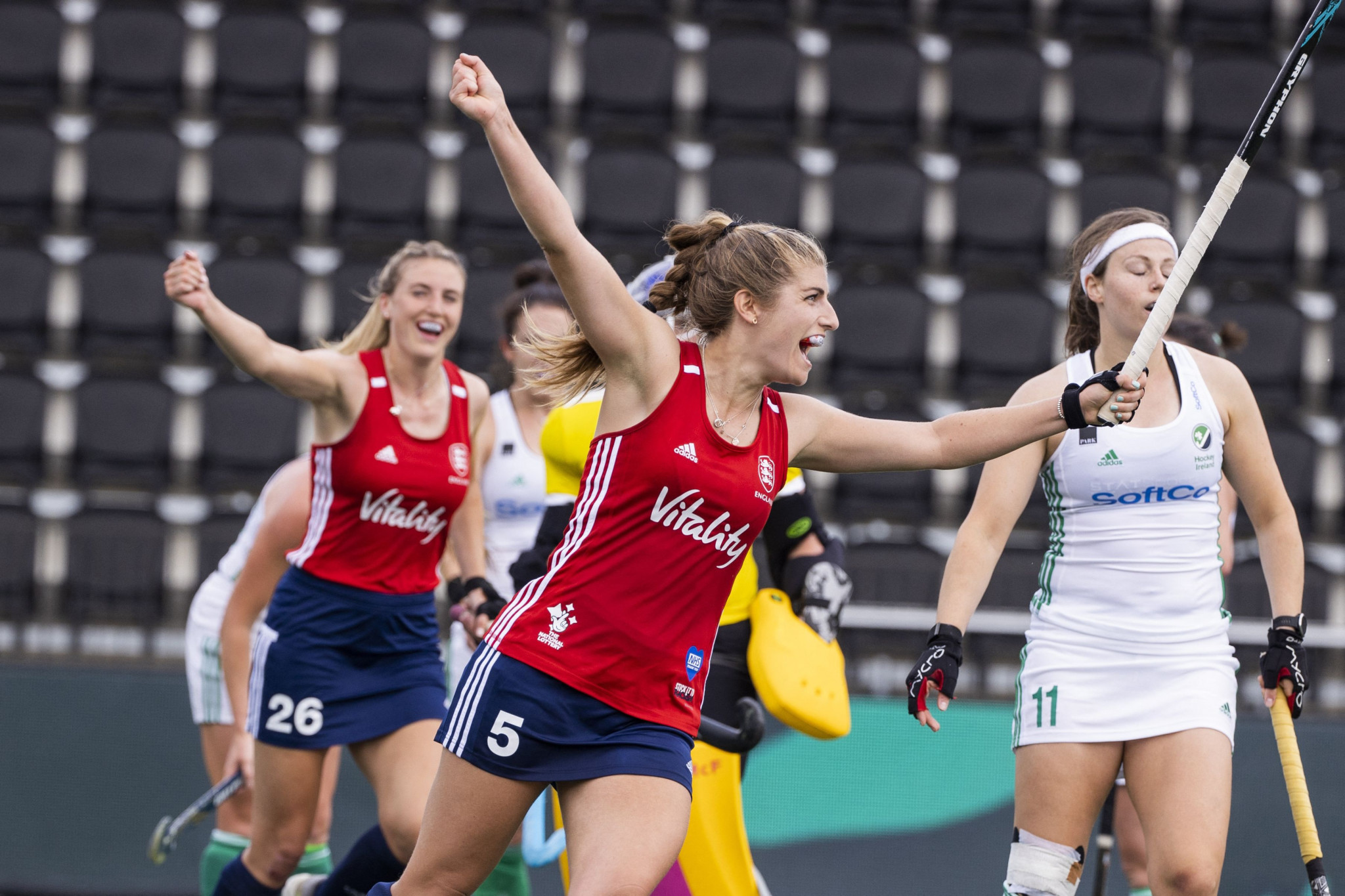 England's women's hockey team defeated Ireland 5-1 to top Pool C after two matches ©Getty Images