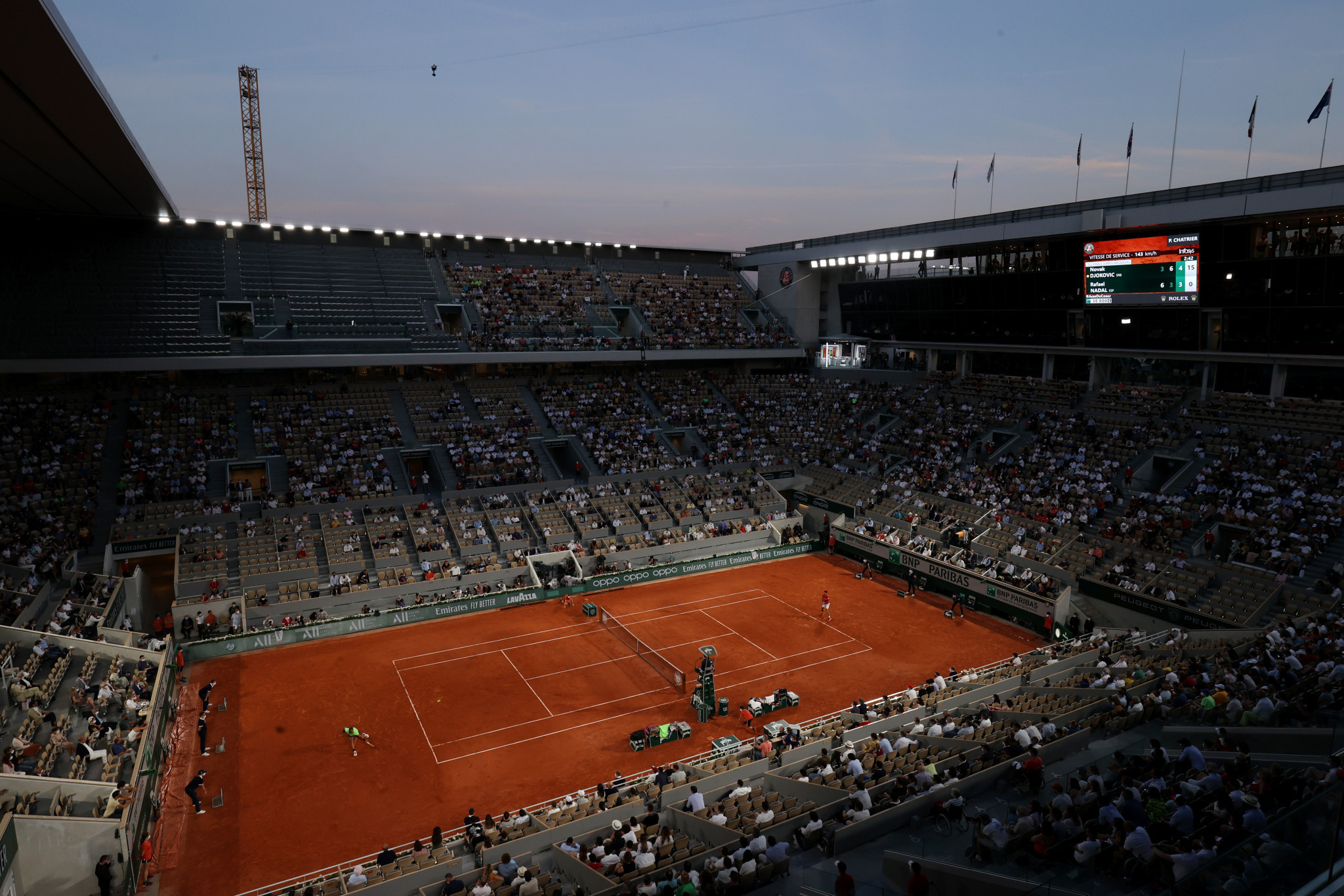 Fans were allowed to remain on Court Philippe-Chatrier to watch the conclusion of Nadal and Djokovic after an exception was granted to the 11pm curfew ©Getty Images