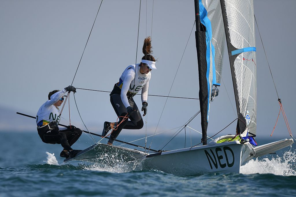 Annemiek Bekkering and Annette Duetz maintained their 49erFX lead at the World Sailing Cup in Medemblik ©Getty Images