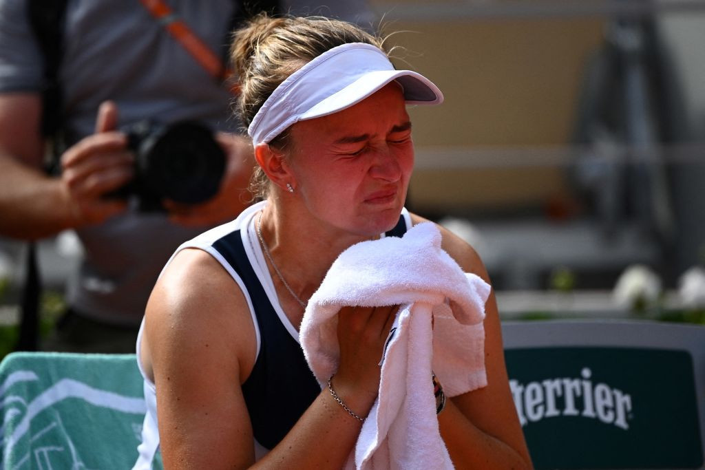 The 25-year-old Czech was emotional after wrapping up a three-set win over Russia's Anastasia Pavlyuchenkova ©Getty Images