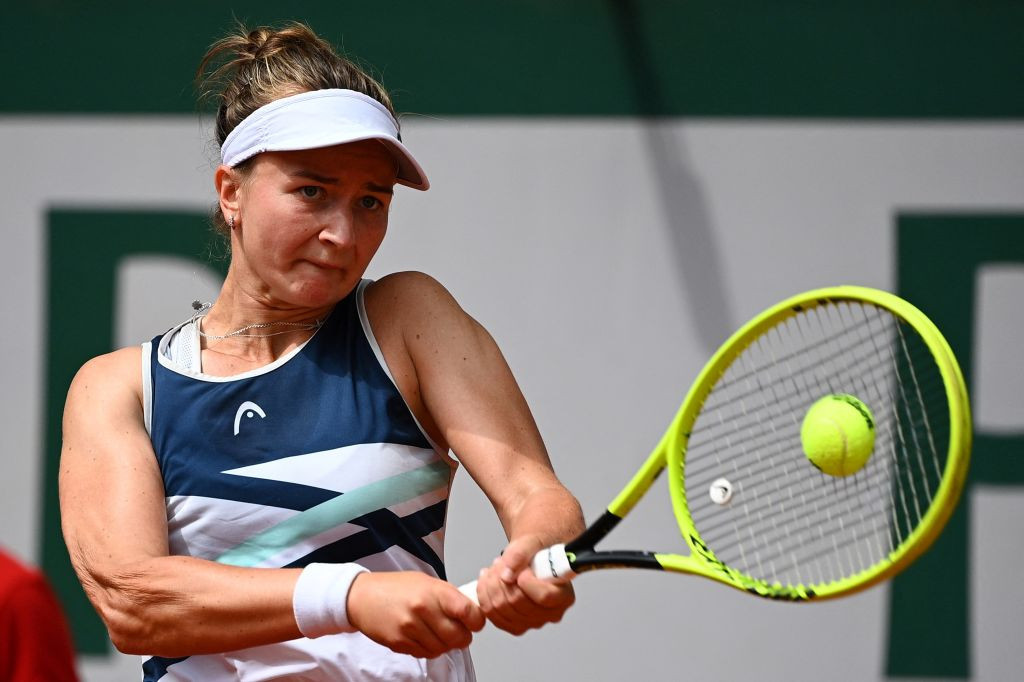Barbora Krejčíková claimed what proved to be the decisive break in the seventh game of the third set ©Getty Images