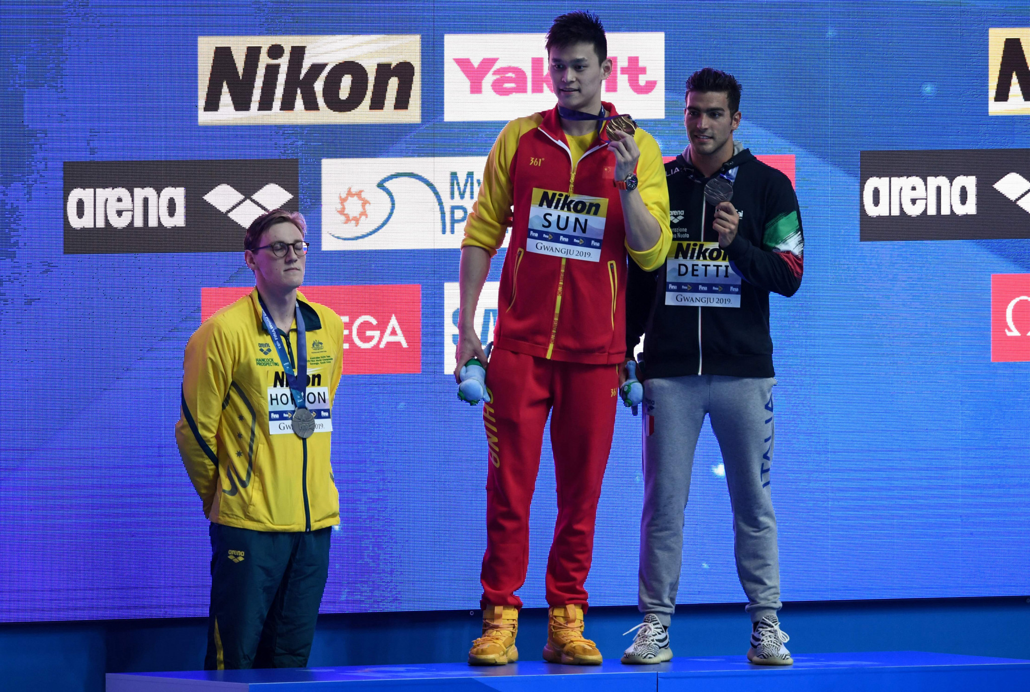 Mack Horton refused to take to the podium after  Sun Yang won gold at the World Championships in 2019 ©Getty Images