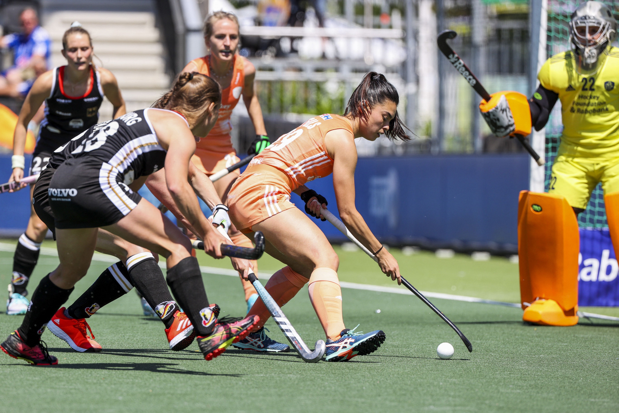 Stella van Gils controls the ball in the final, where The Netherlands overcame Germany ©Getty Images