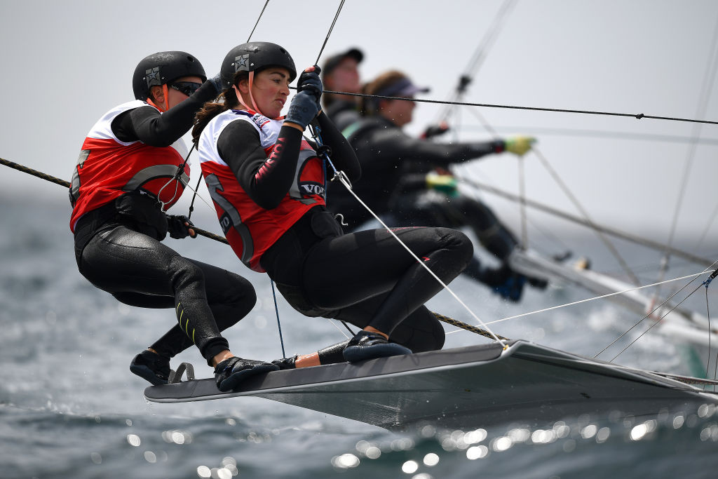 Annemiek Bekkering and Annette Duetz completed a dominant 49erFX display at the World Cup in Medemblik by winning the medal race ©Getty Images