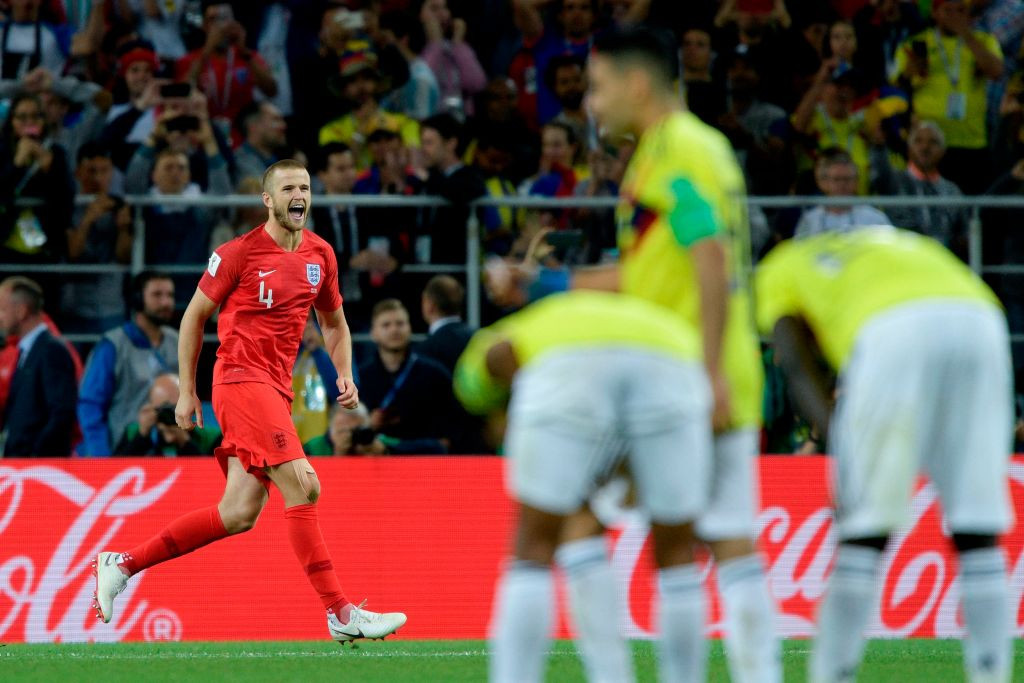 Eric Dier celebrates after scoring the decisive goal in England's penalty shoot-out win against Colombia in the round of 16 at the 2018 World Cup finals ©Getty Images