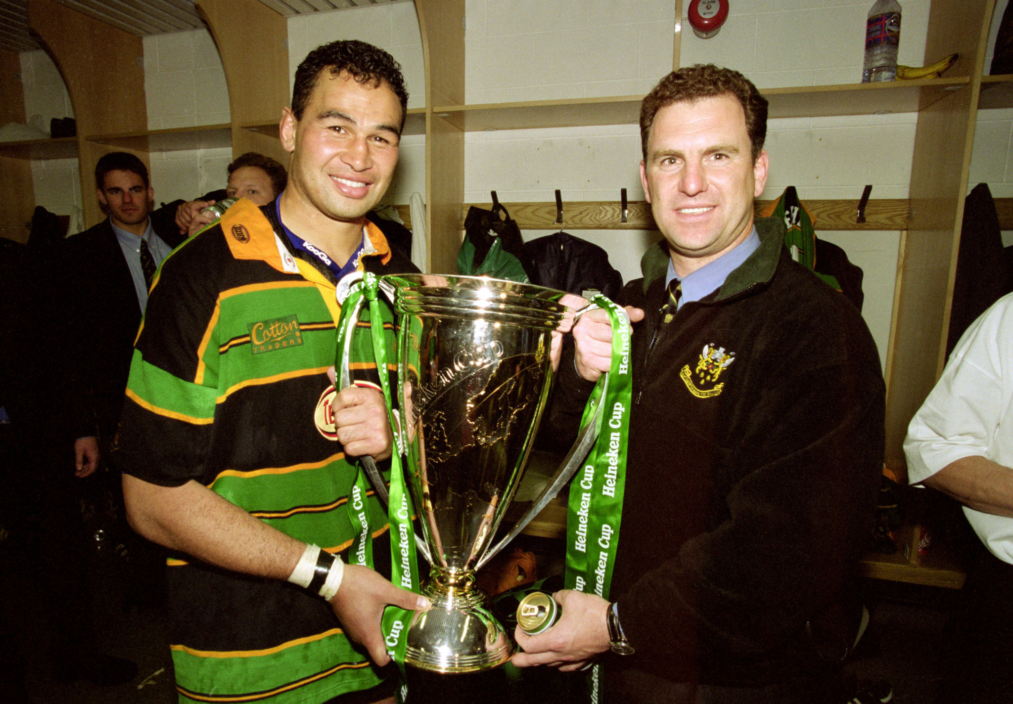 John Steele, right, coached the Northampton Saints when they lifted the European Cup in 2000 ©Getty Images