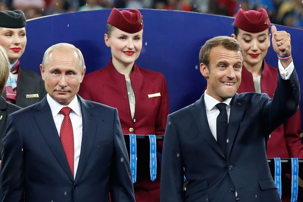 French President Emmanuel Macron pictured with Russian President Vladimir Putin after the 2018 FIFA World Cup final ©Getty Images