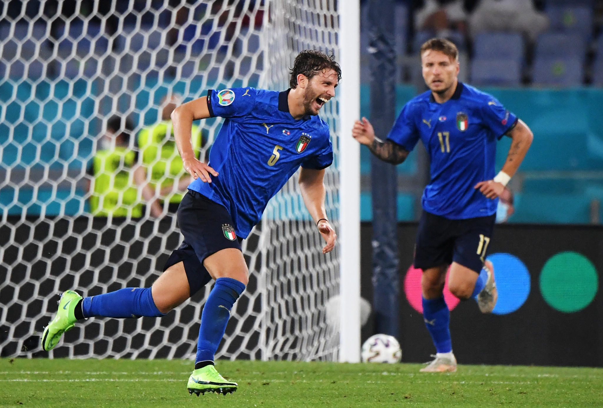 Italy's Manuel Locatelli celebrates scoring his second goal in Italy's 3-0 victory over Switzerland in Rome to guarantee his side's qualification for the next round of Euro 2020 ©Getty Images