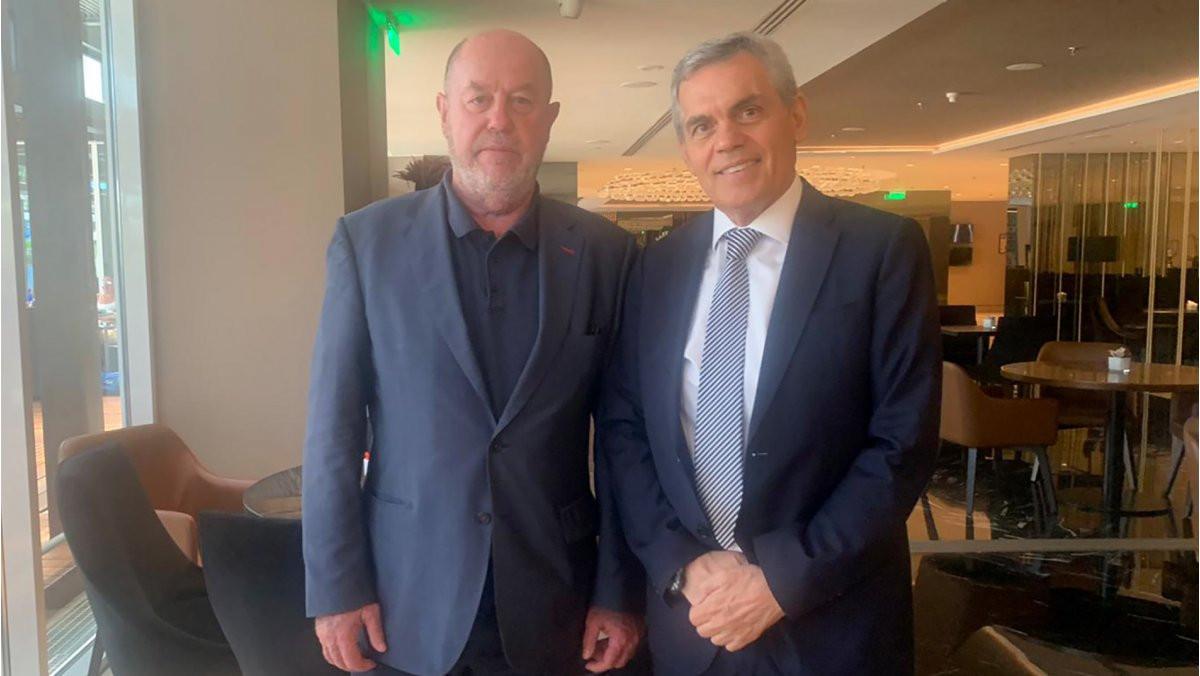 Antonio Espinós, left, also travelled to Athens to meet Greek Karate Federation President Theodore-Margaritis Sietis ©WKF
