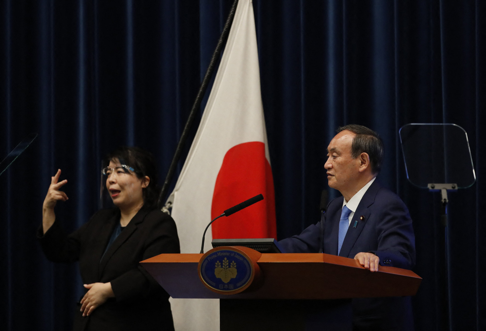 Japan's Prime Minister Yoshihide Suga said restrictions could be tightened if cases increase ©Getty Images