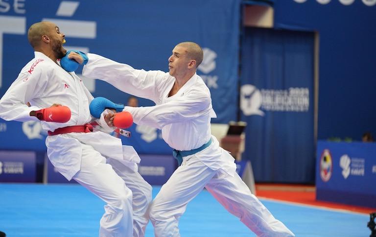 Daniel Gaysinsky, right, qualified for Tokyo 2020 in dramatic fashion ©WKF