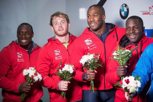 The British squad, led by Lamin Deen, right, that finished second in the IBSF World Cup in Whistler in 2017 have been retrospectively awarded the gold medal ©Lamin Deen
