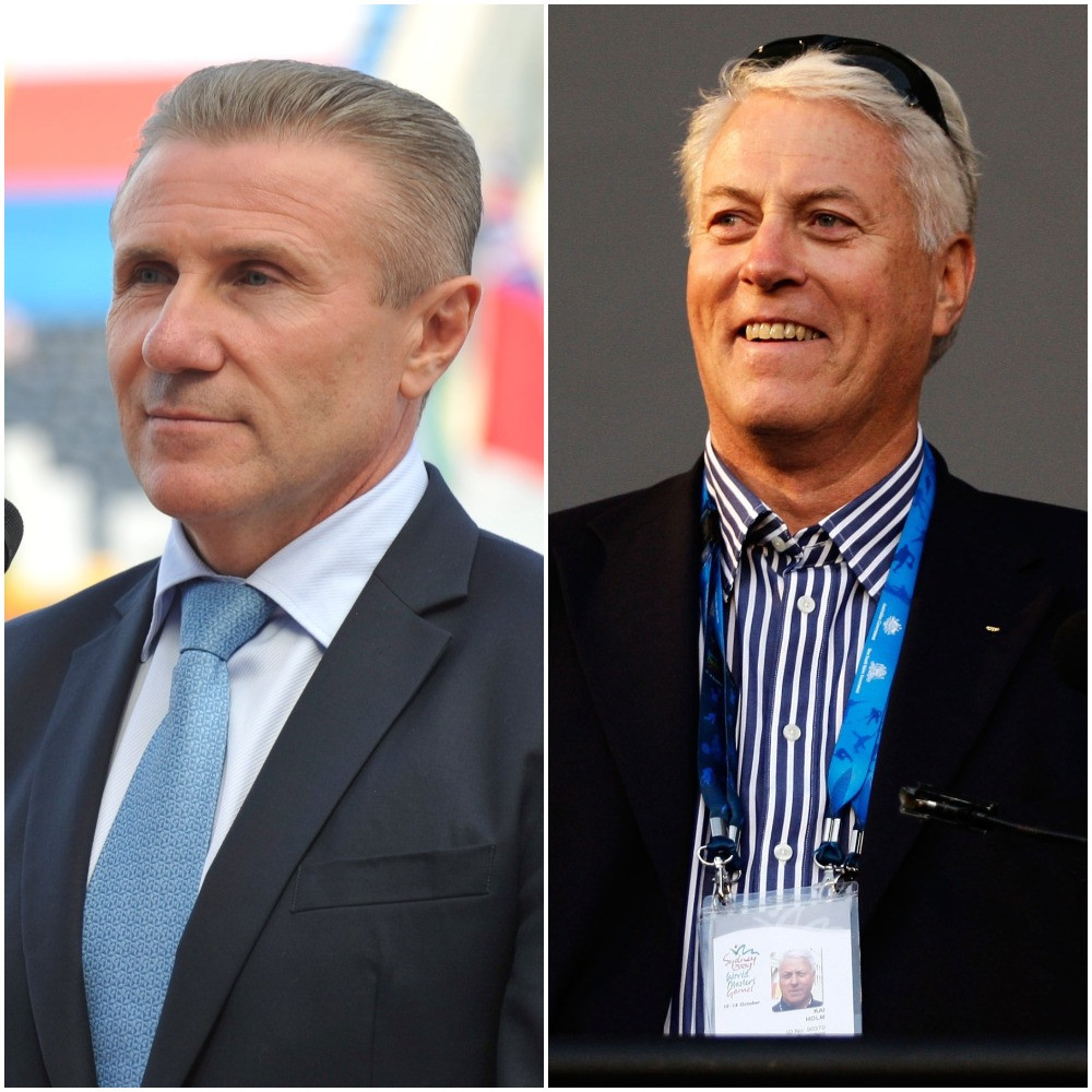 Sergey Bubka, left, has taken over as Acting President of the International Masters Games Association after Kai Holm, right, stood down ©Getty Images