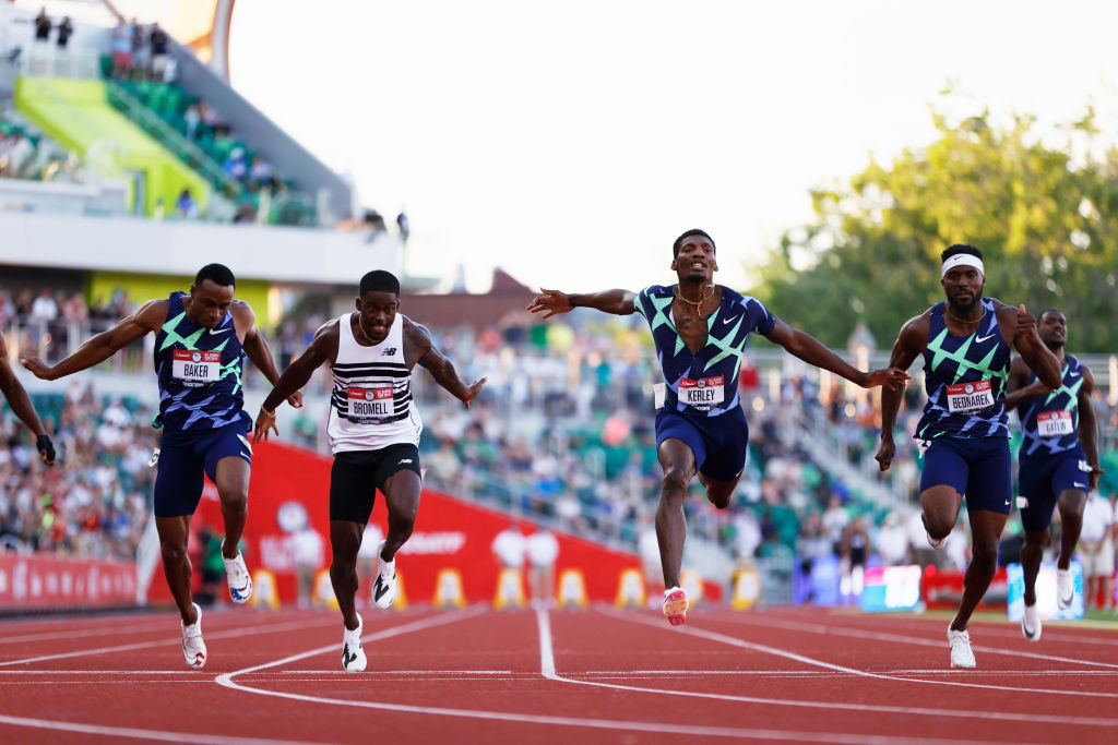 Trayvon Bromell wins the US Olympic trials 100m at Hayward Field ©Getty Images