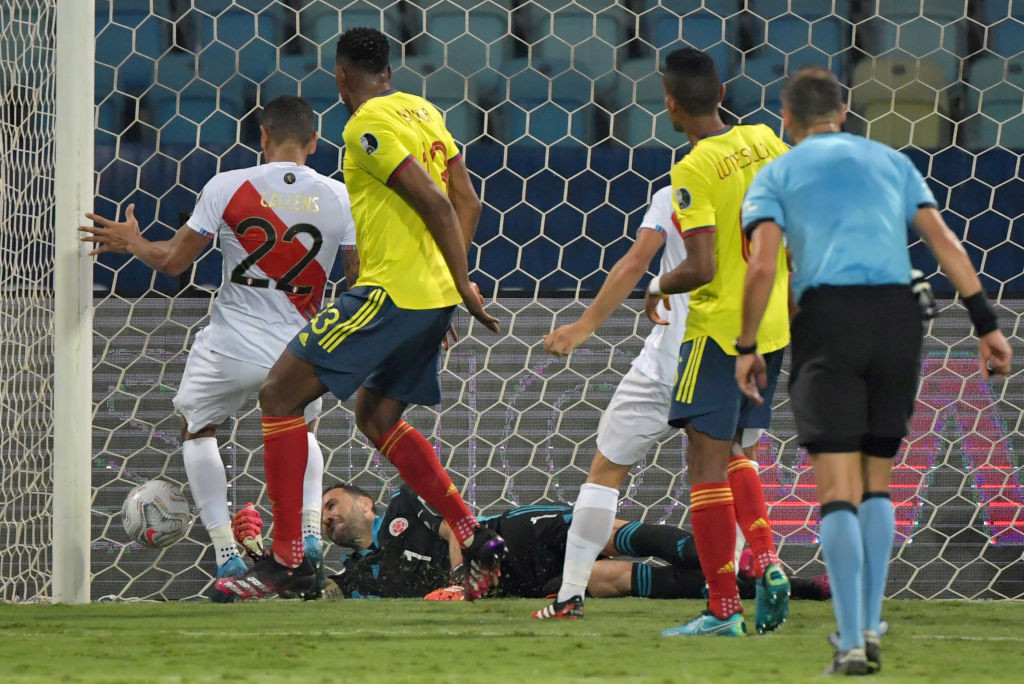 Yerry Mina's own goal gave Peru a 2-1 win over Colombia ©Getty Images